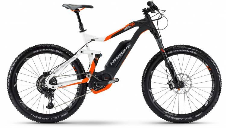 Haibike XDURO AllMtn 8.0 500Wh weiß/schwarz/orange matt 2017 - VTT tout suspendu électrique