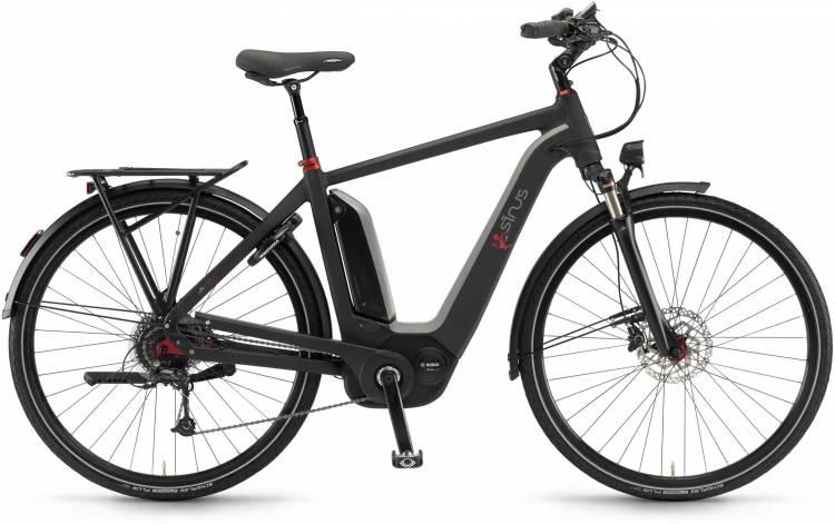 "Sinus Ena9 500Wh 28"" schwarz matt 2017 - Vélo trekking électrique Homme"