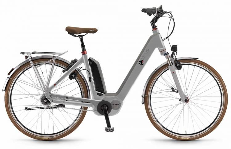 "Sinus Ena8f 500Wh 28"" FL silber matt 2017 - Vélo trekking électrique col de cygne"
