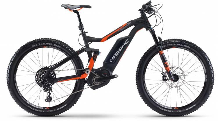 Haibike XDURO FullSeven 7.0 500Wh schwarz/rot/anthr. matt 2017 - VTT tout suspendu électrique