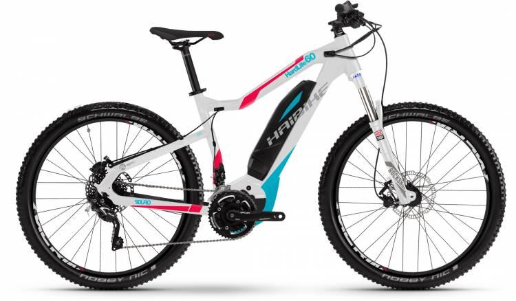 Haibike SDURO HardLife 6.0 500Wh weiß/peach/cyan 2017 - VTT semi-rigide électrique Femme